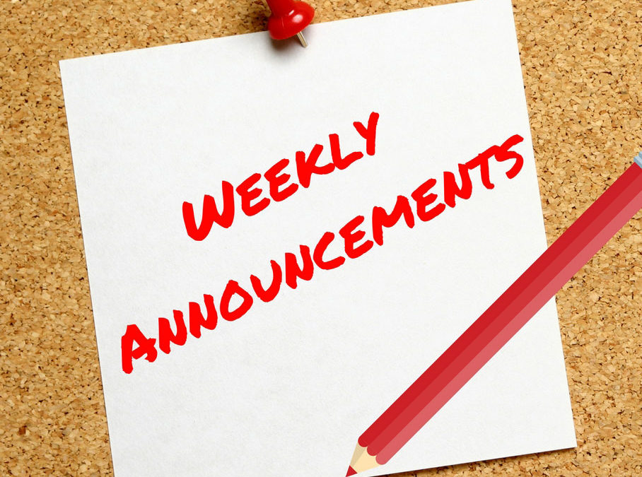 Weekly Announcements 09-11-19