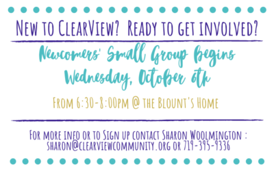 Newcomer's Small Group Begins October 6th