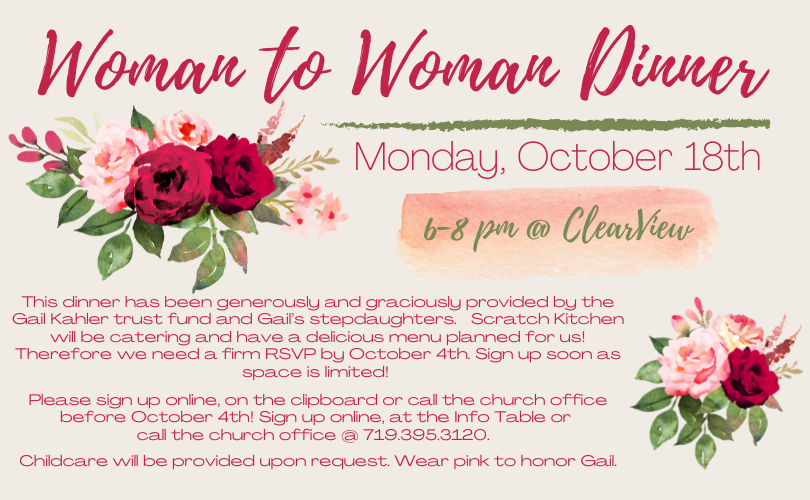 Woman to Woman Dinner – October 18th